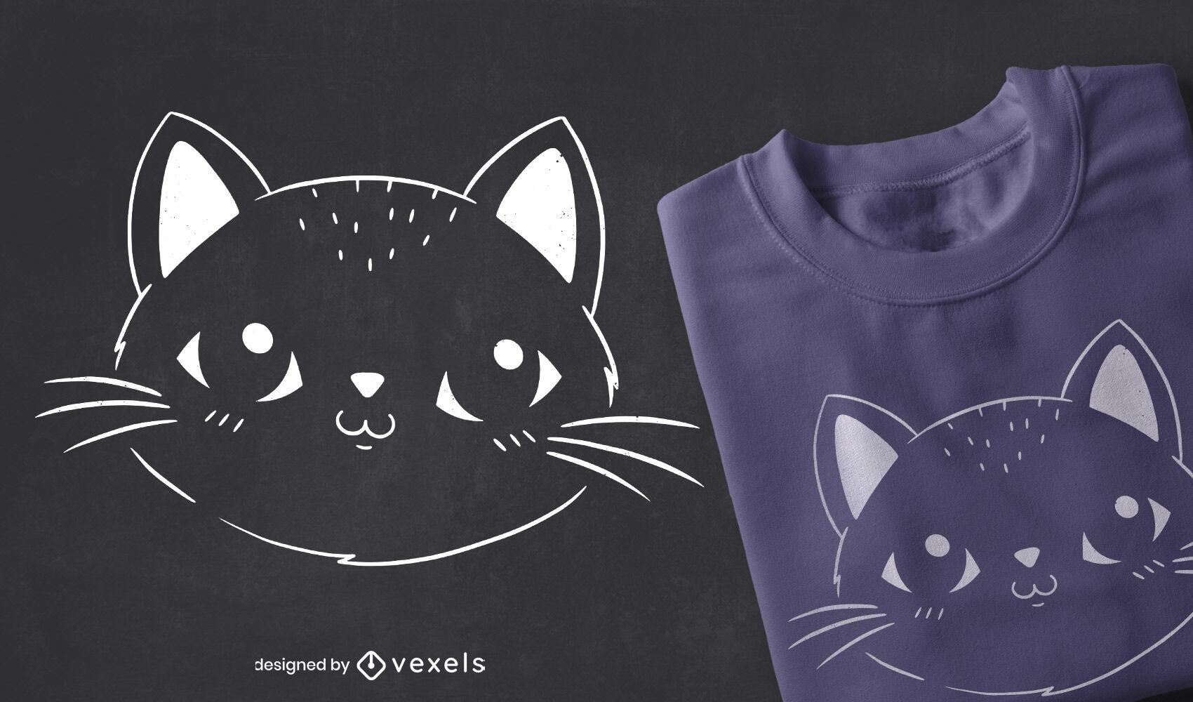Design de t-shirt com um gato fofo e cheio de traços