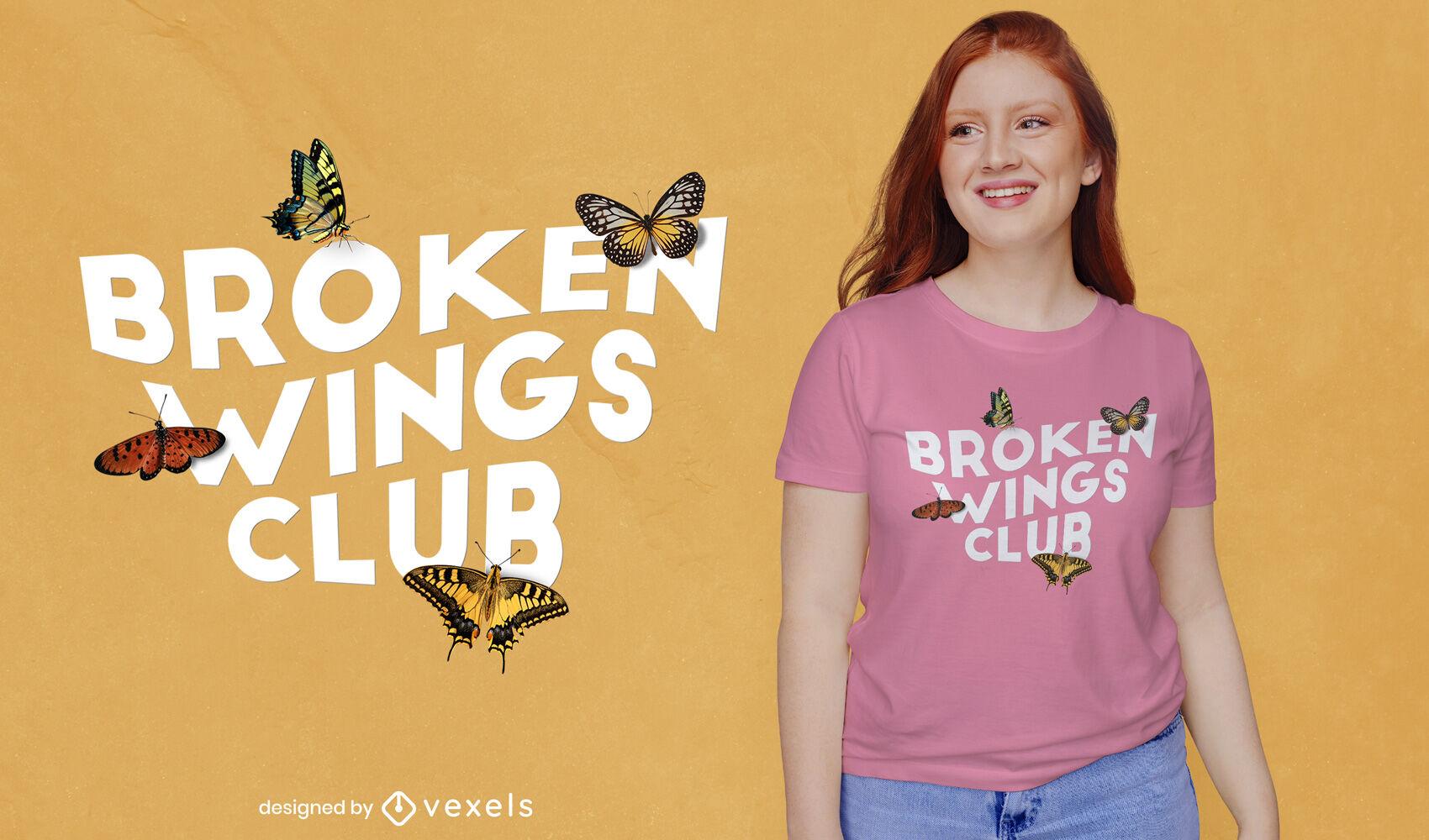Asas quebradas clube borboletas psd design de t-shirt