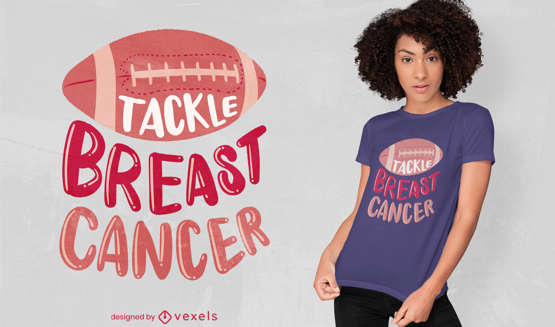 Diseño de camiseta motivacional de cáncer de mama de fútbol.