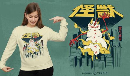 Design de camiseta japonesa monstro boneco de neve