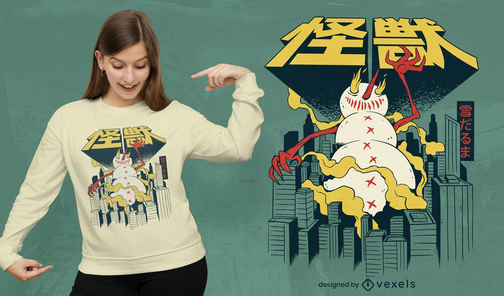 Diseño de camiseta japonesa muñeco de nieve monstruo