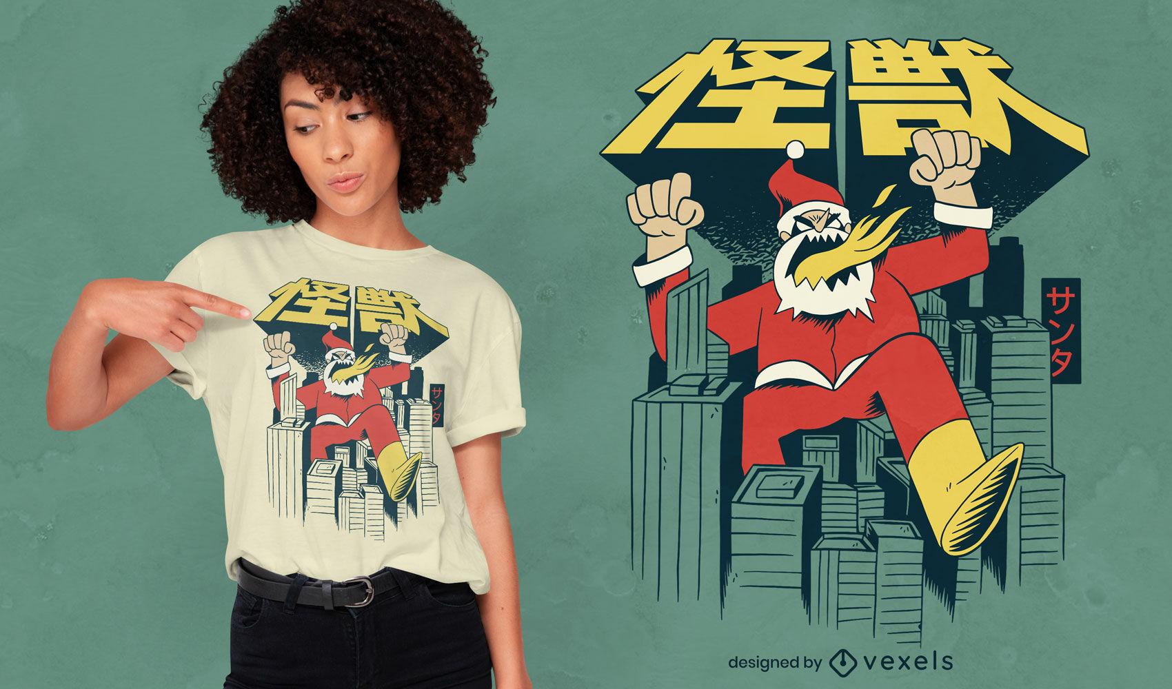 Navidad Santa monstruo destruyendo diseño de camiseta de la ciudad.