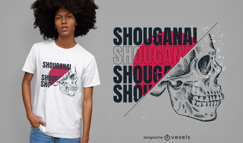 Desenho de t-shirt desenhado à mão com cabeça de esqueleto
