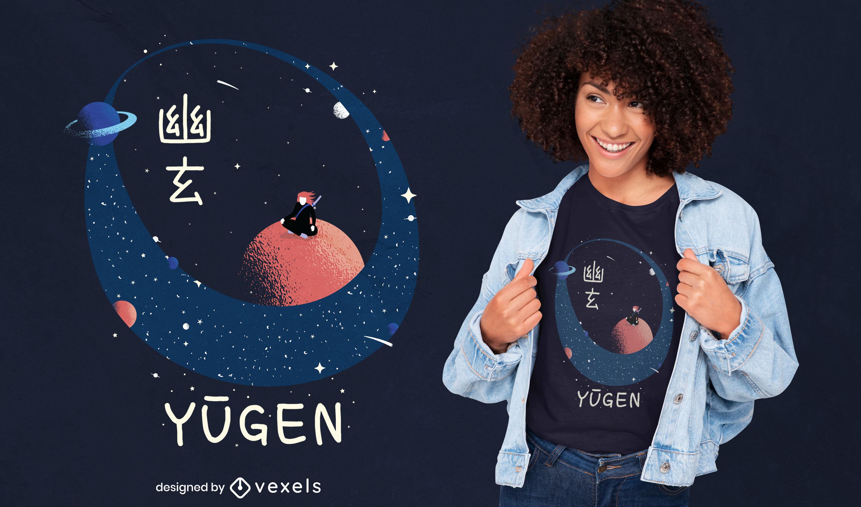 Samurai auf dem Mond-Weltraum-T-Shirt-Design