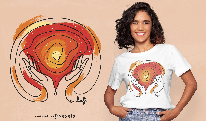 M?os segurando o design da camiseta do universo
