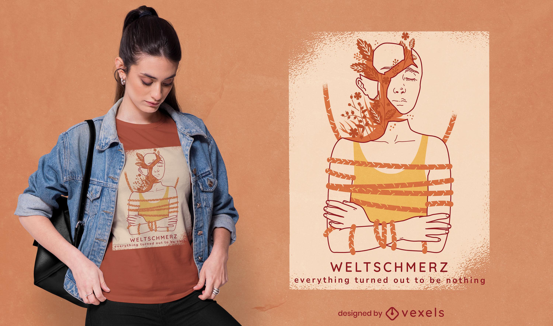 Weltschmerz sentindo design de t-shirt