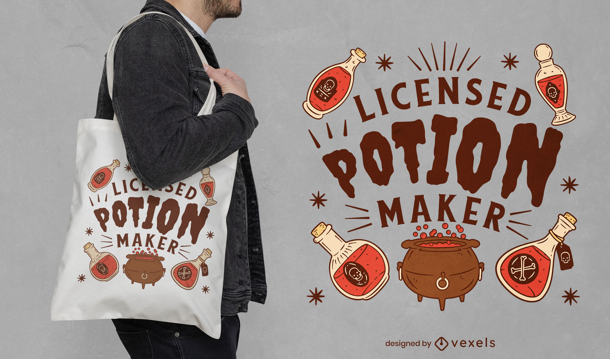 Witch potions and cauldron tote bag design