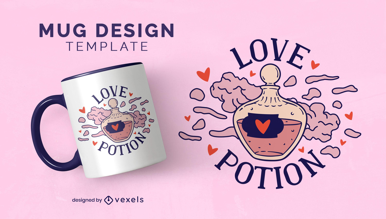 Design de caneca mágica de feitiçaria de poção do amor