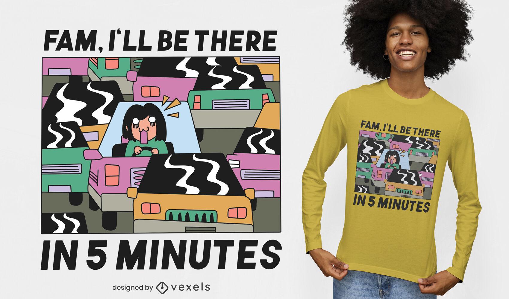 Atascado en el diseño de la camiseta del atasco de tráfico
