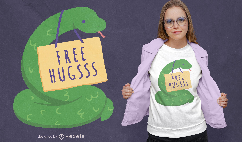 Diseño de camiseta de serpiente abrazos gratis