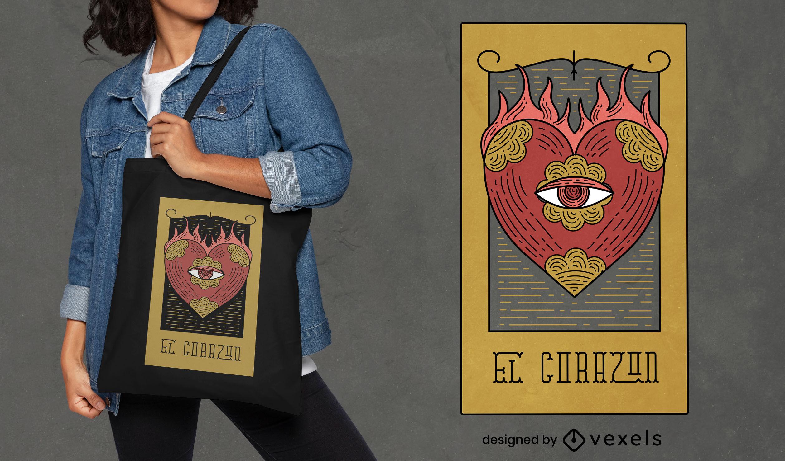 Ojo en el corazón diseño de la bolsa de asas de cartas de tarot