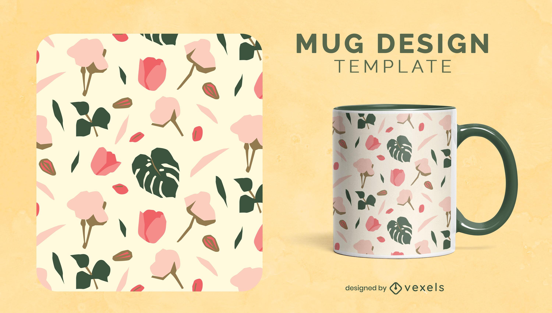 Diseño de taza botánica de flores y hojas.