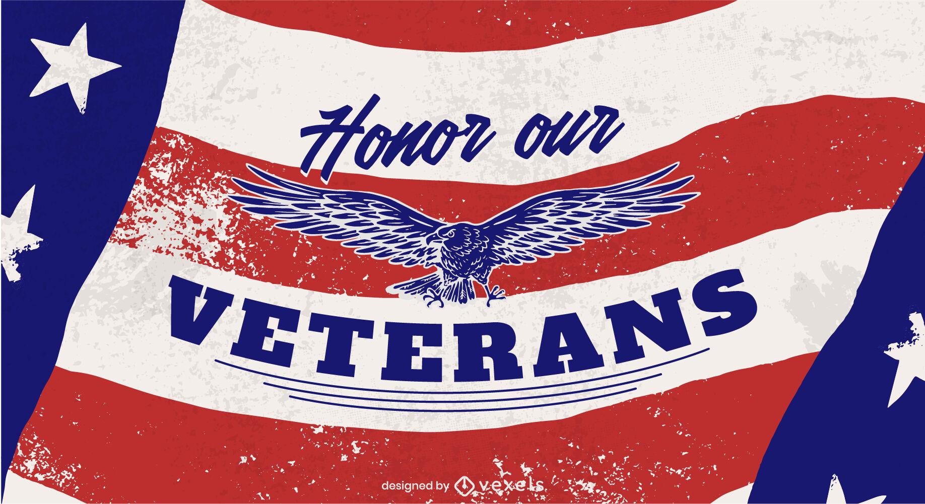 Águia voando no controle deslizante do dia dos veteranos da bandeira americana