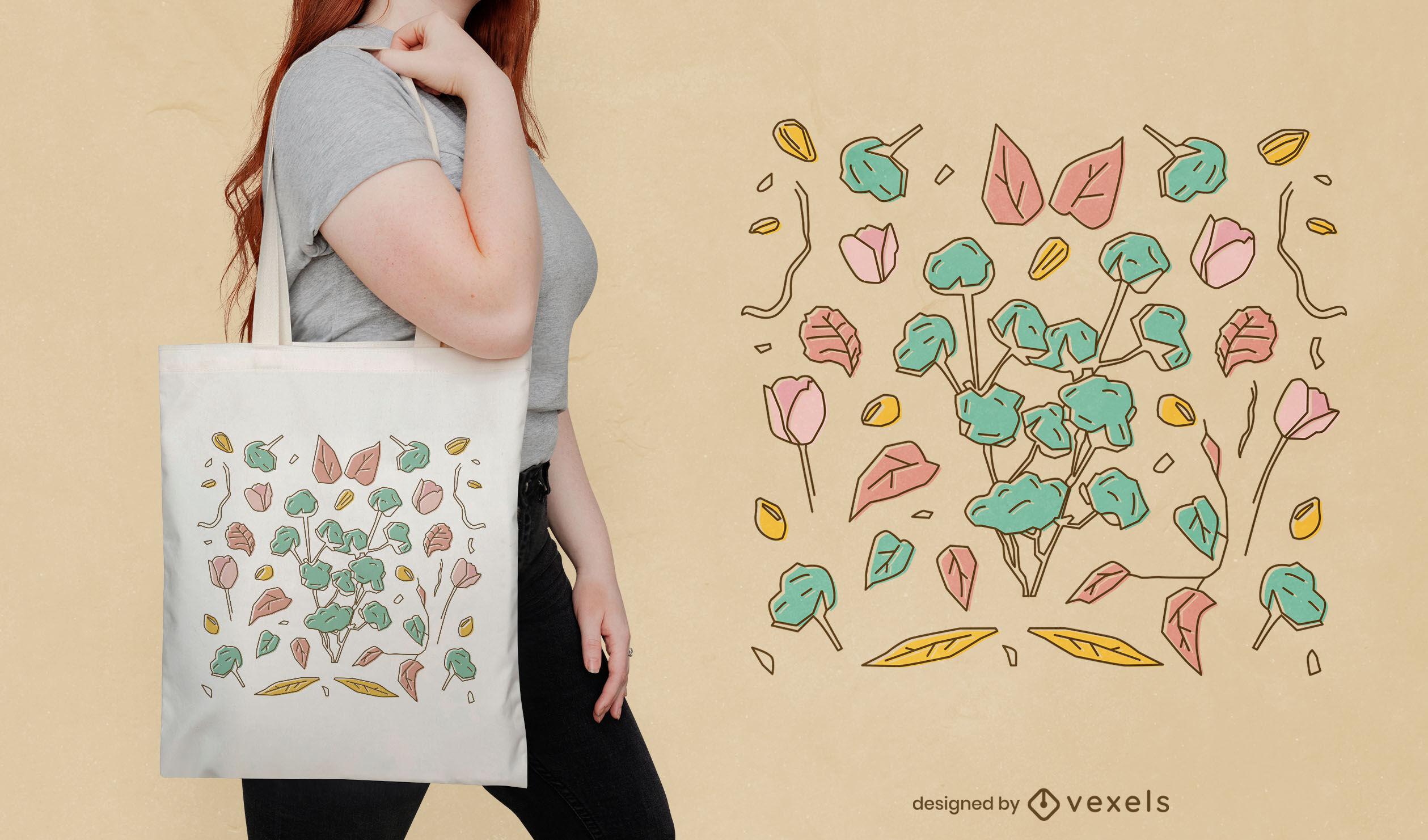 Diseño botánico de la bolsa de asas de la naturaleza de las flores