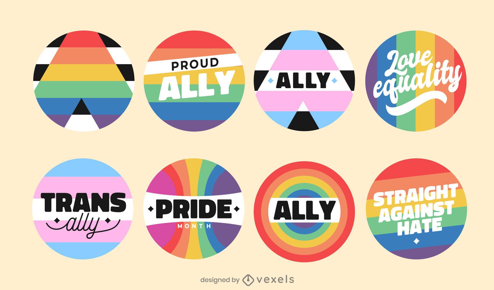 Lgbt ally colorful pride badges set