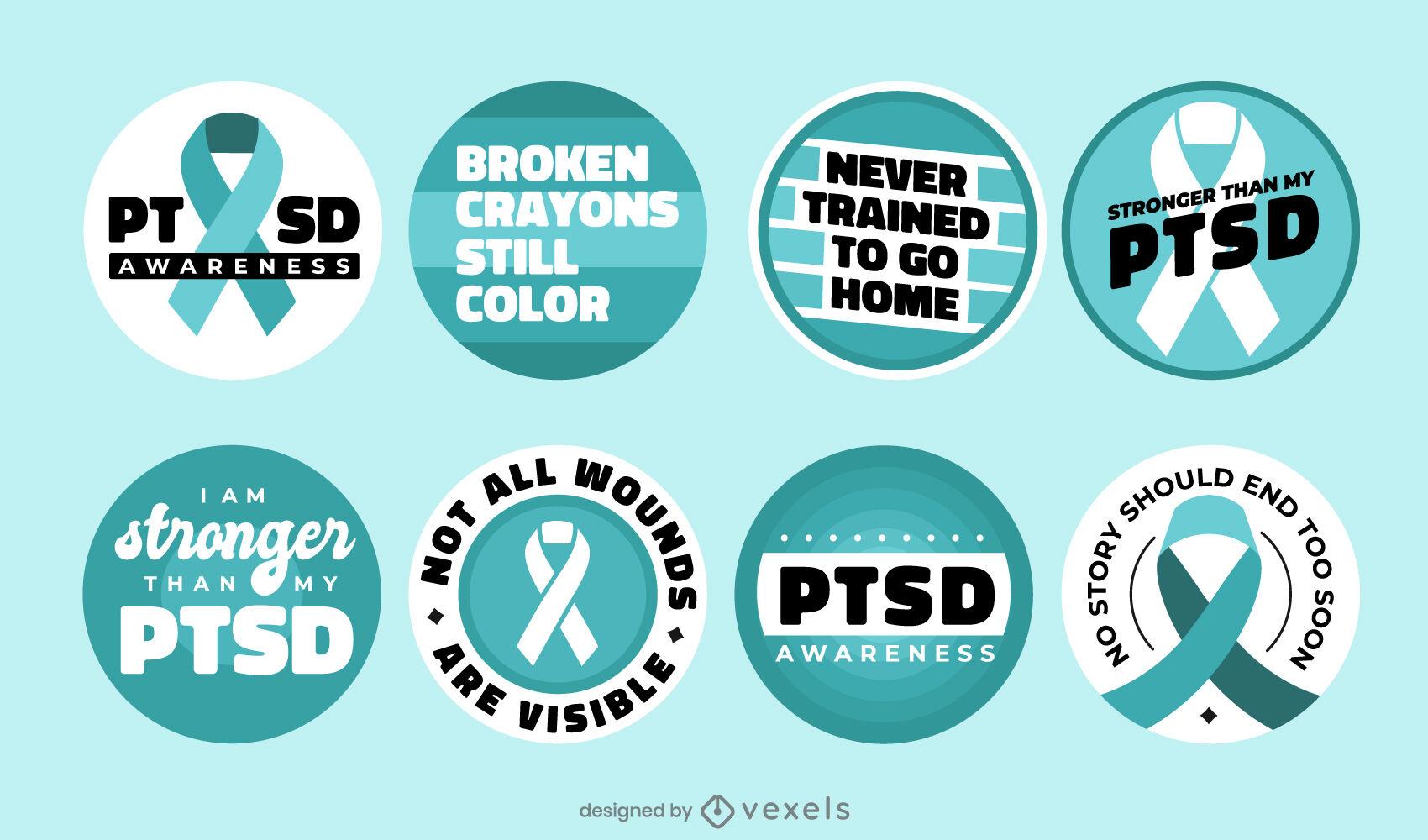Conjunto de emblemas de conscientização de PTSD e saúde mental