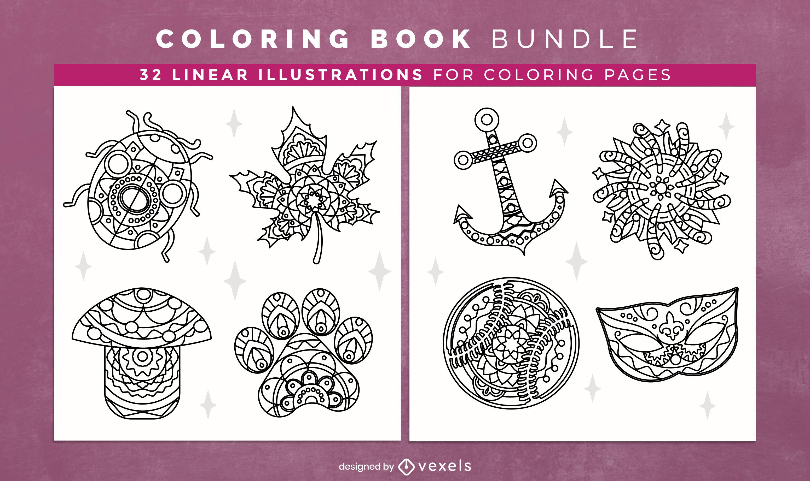 Elementos de mandala para colorear páginas de diseño de libros