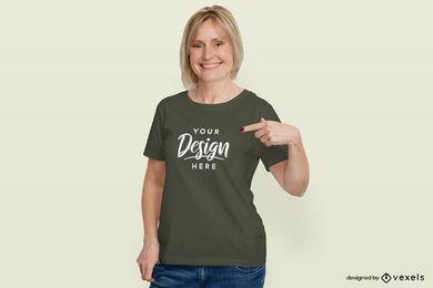 Woman in dark green t-shirt flat background mockup