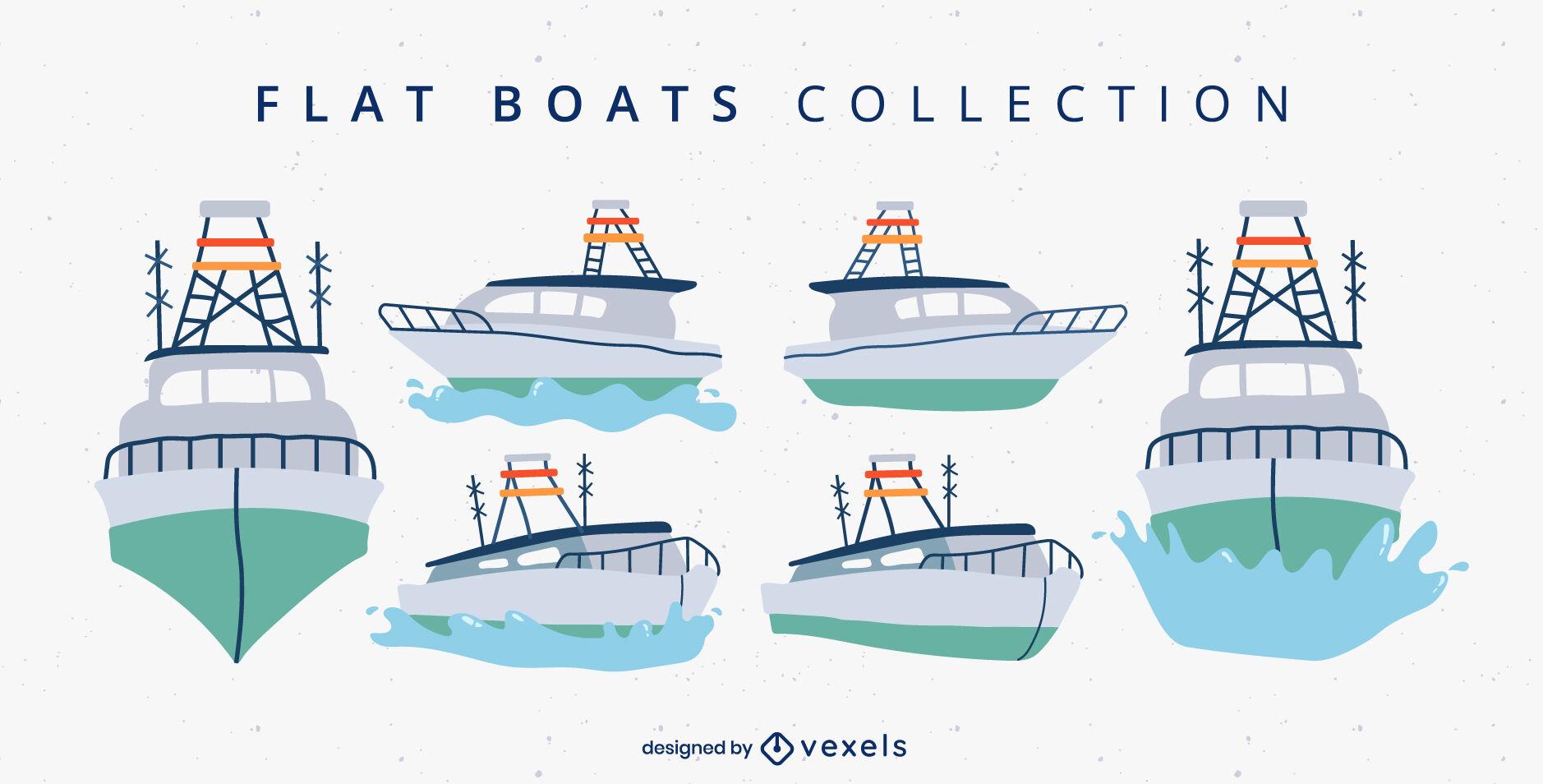 Boats and ships sea transportation set