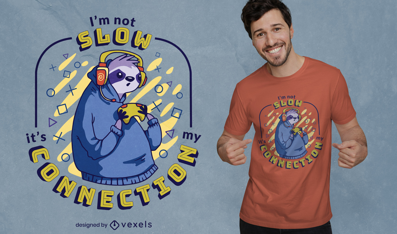 Slow gaming sloth t-shirt design