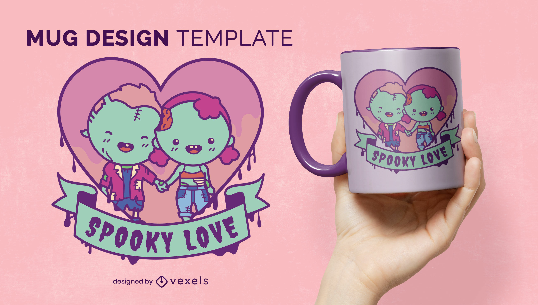Zombie cute couple love mug template