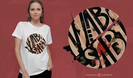 Diseño de camiseta de círculo japonés con letras wabi sabi
