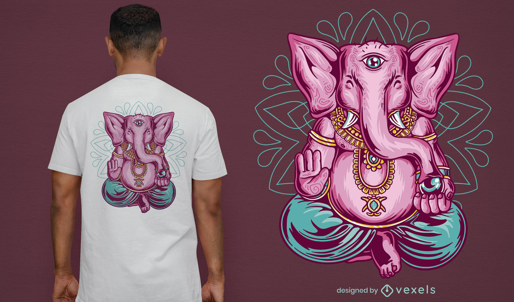 Elefante rosa meditando com design de camiseta