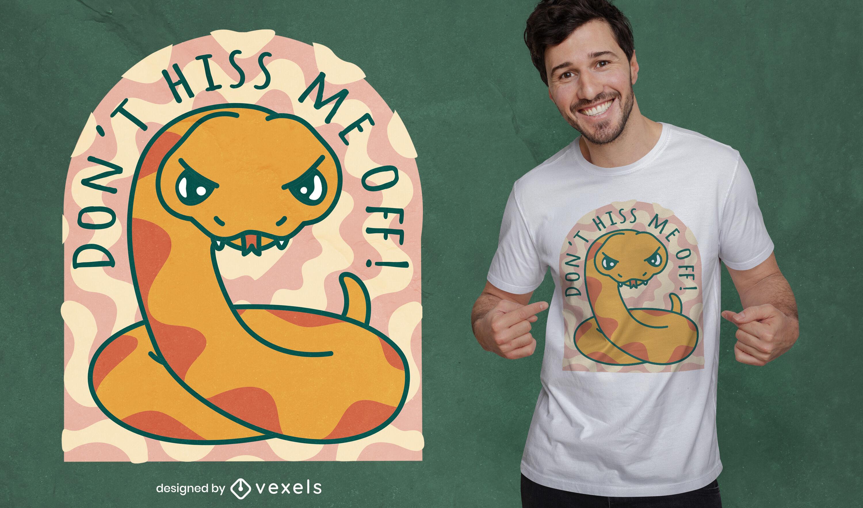 Diseño de camiseta de serpiente de dibujos animados enojado