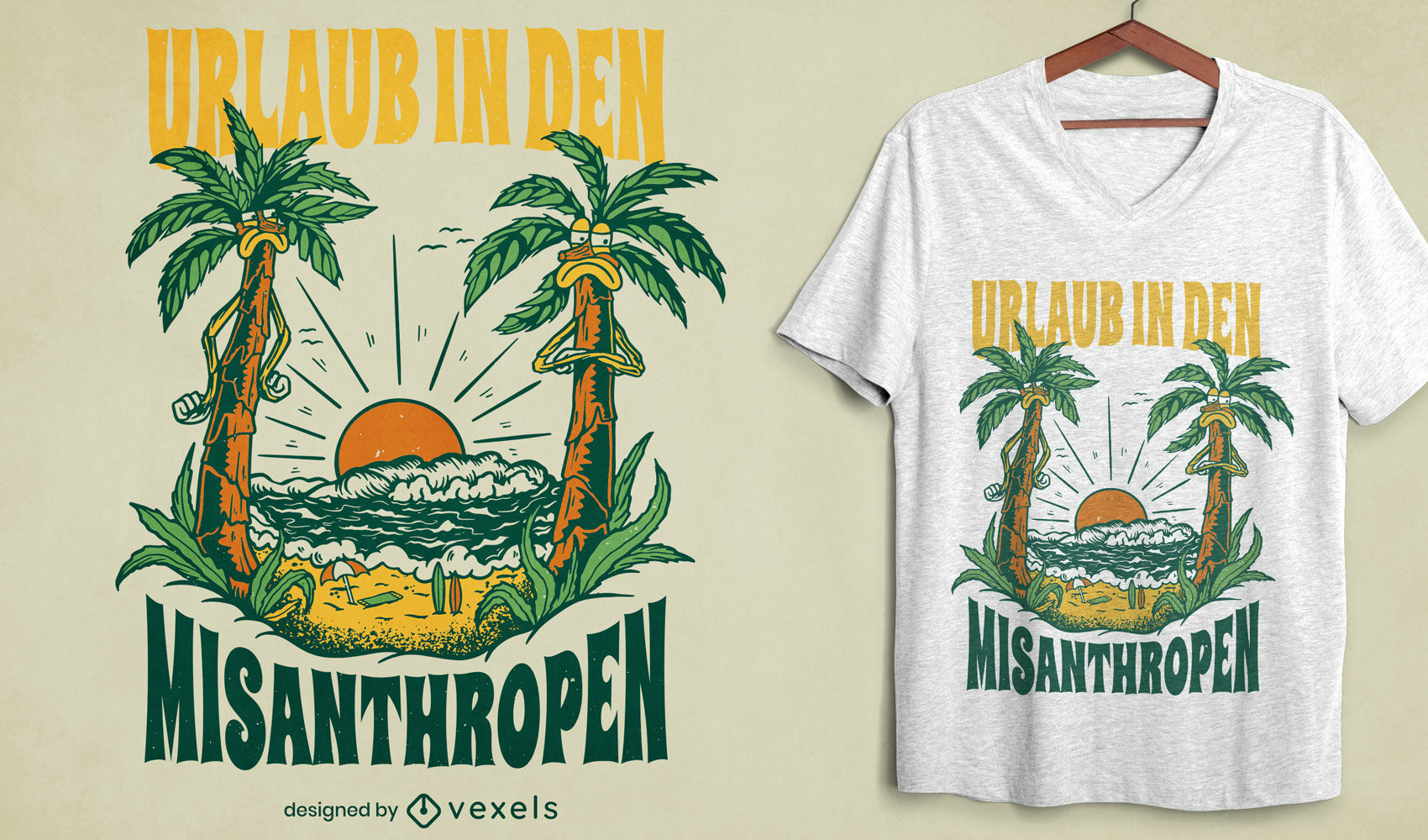Angry palm trees on beach t-shirt design