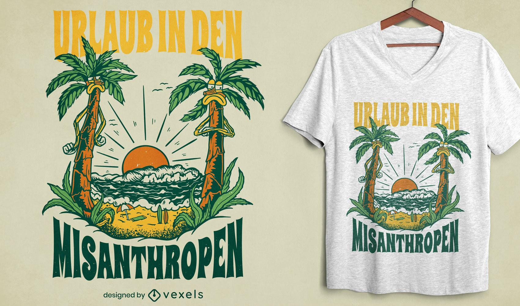 Palmeras enojadas en el diseño de camiseta de playa