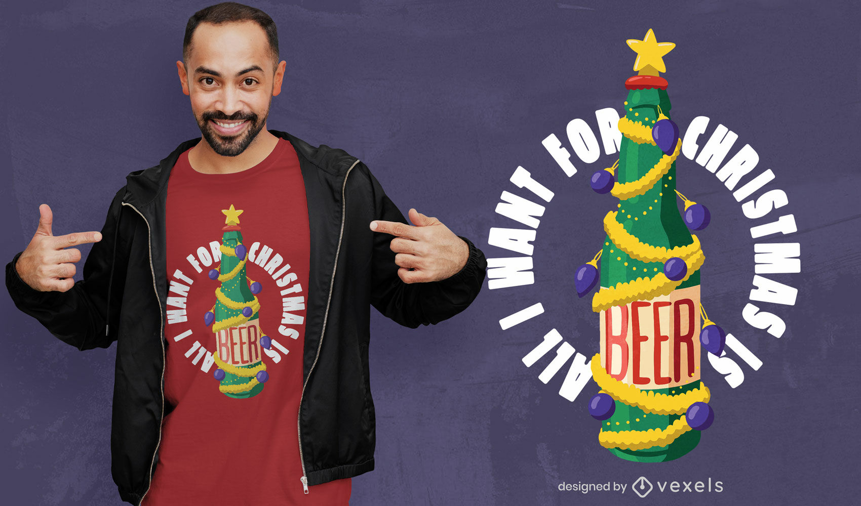 Design de t-shirt com bebida de cerveja para árvore de Natal