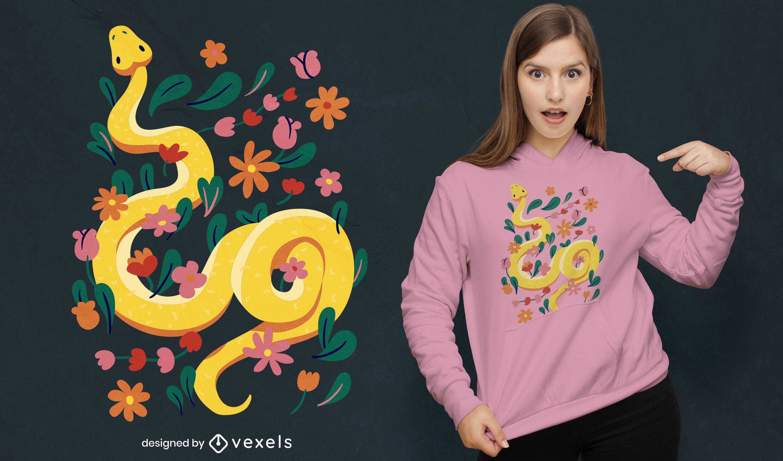 Diseño de camiseta de serpiente y flores.