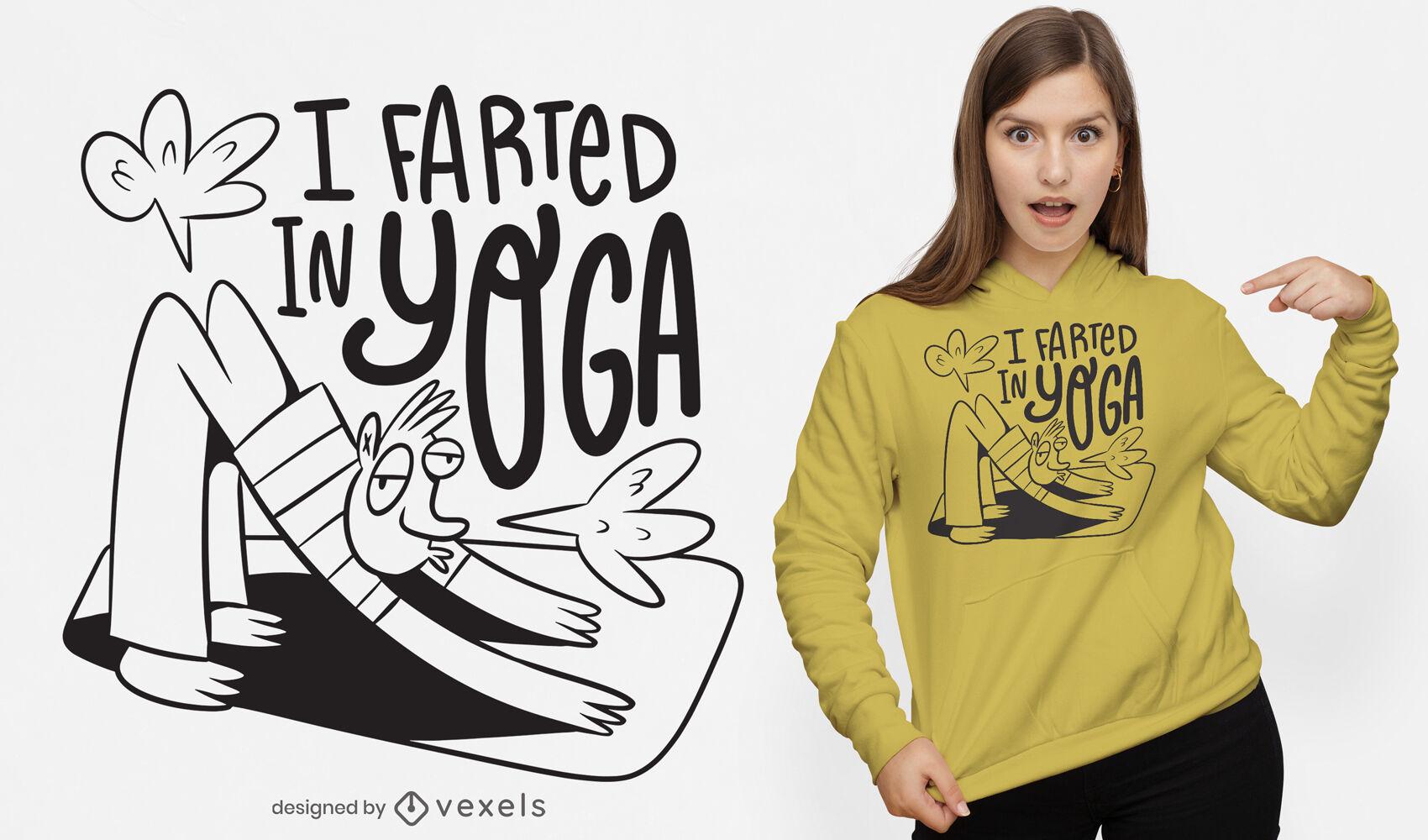 Man doing yoga funny cartoon t-shirt design