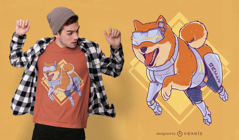 Futuristic shiba inu dog robot t-shirt design