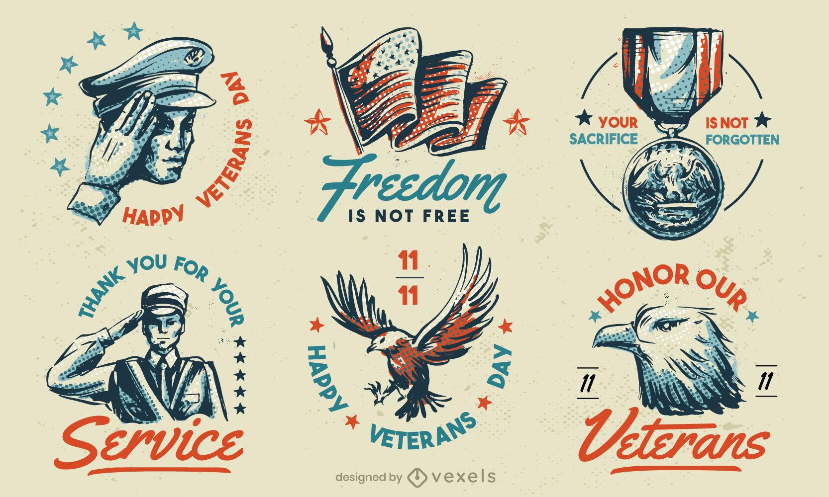 Conjunto de insignias vintage de vacaciones americanas del día de los veteranos