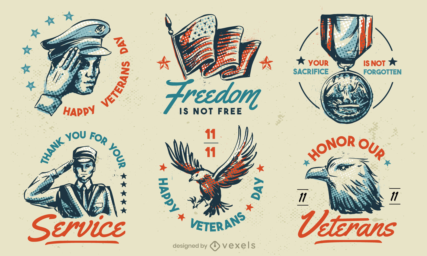 Veterans Day American Holiday Vintage Abzeichenset