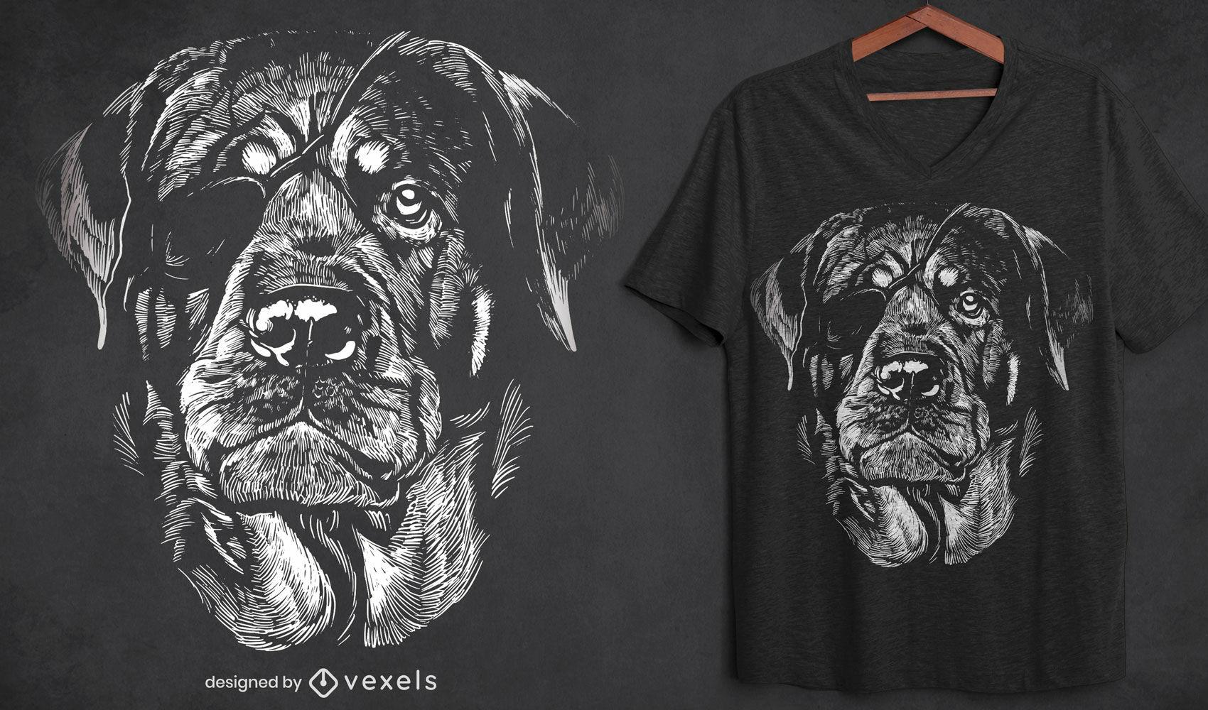 Cachorro Rottweiler com design de t-shirt de tapa-olho