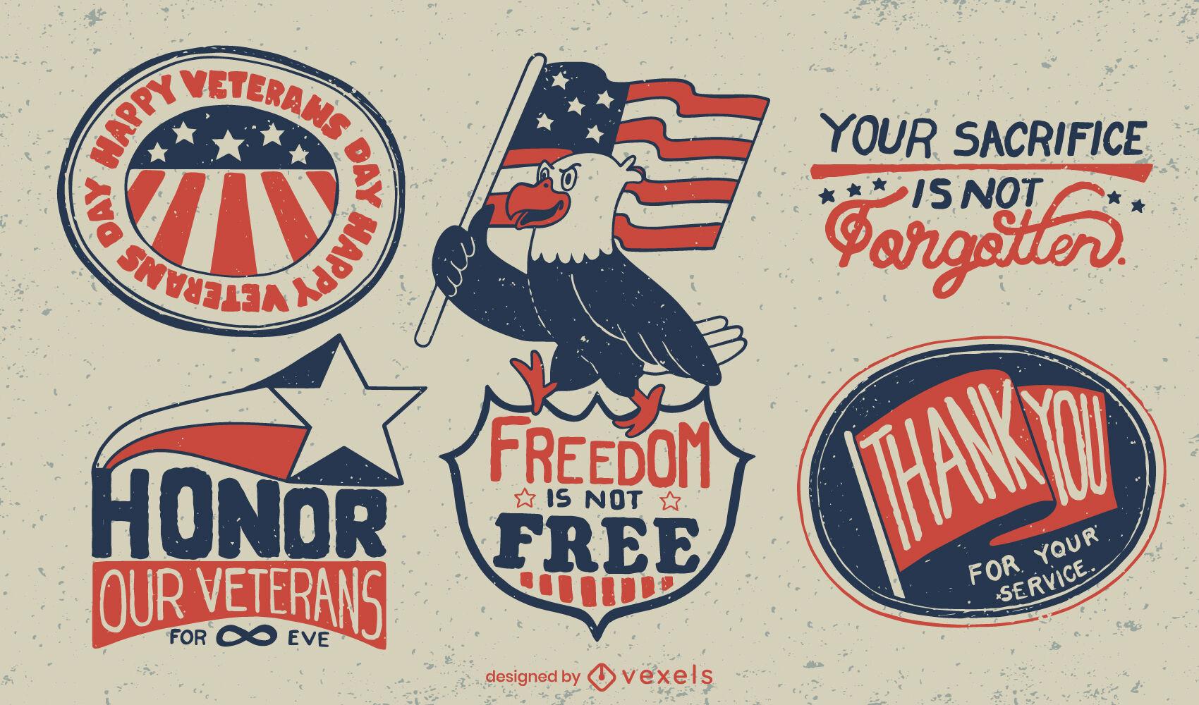Conjunto de crachás de feriado americano do Dia dos Veteranos