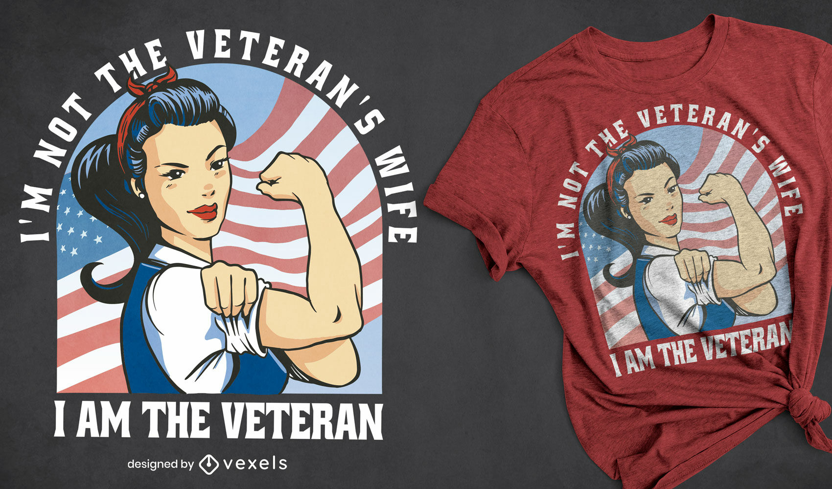 Diseño de camiseta de dibujos animados veterano de mujer fuerte