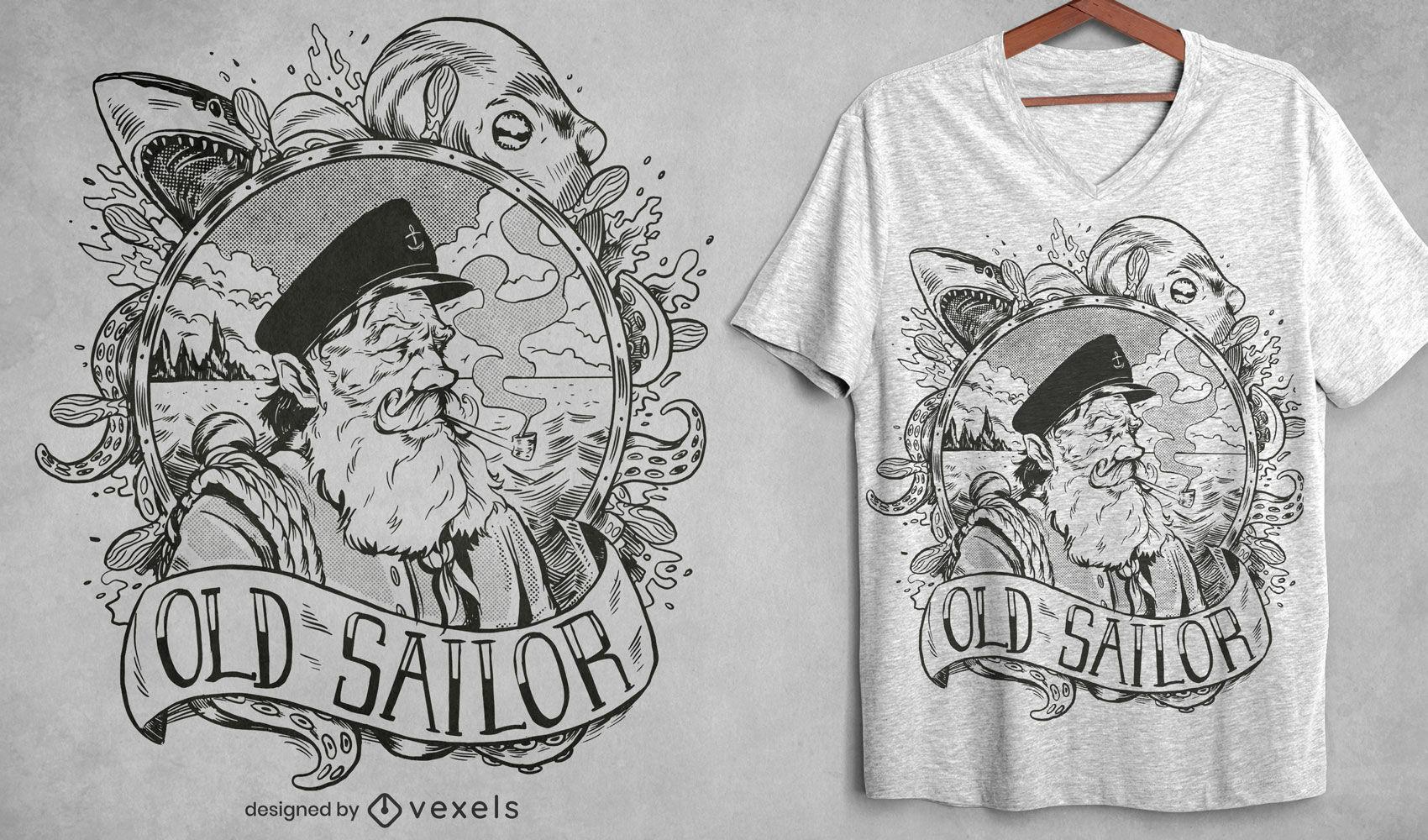 Desenho de t-shirt desenhado à mão de velho marinheiro