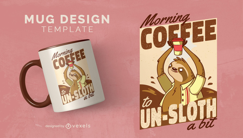 Sloth animal with coffee cup mug template