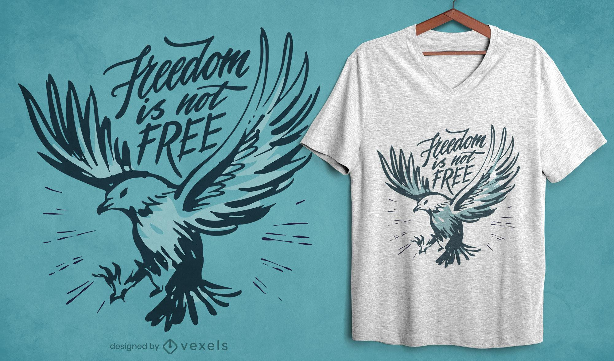 Diseño de camiseta Freedom eagle