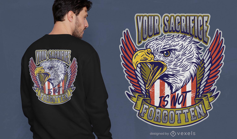 Design de camiseta com citação da águia do dia dos veteranos