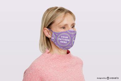 Women in purple face mask mockup