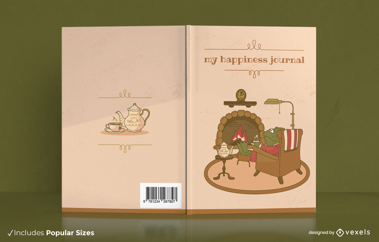 Frog animal in cozy fireplace book cover design