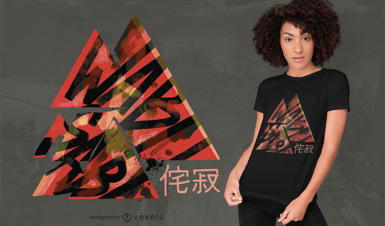Design de camiseta japonesa com tri?ngulos Wabi sabi