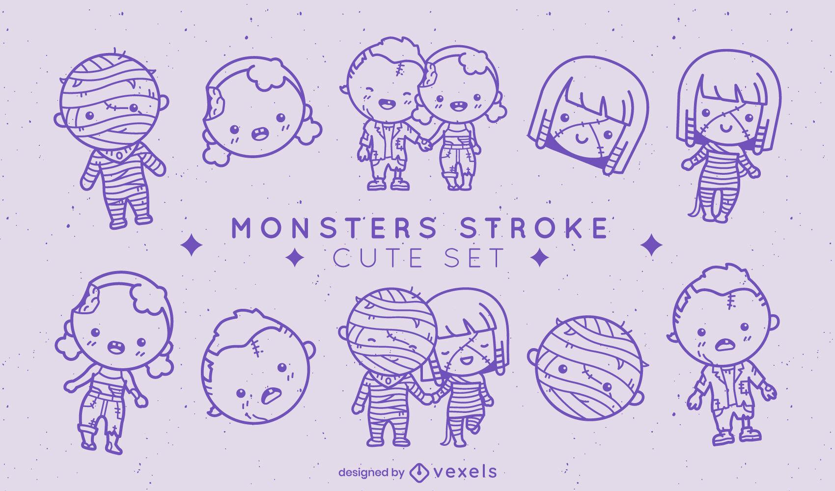 Cute halloween holiday monster stroke set