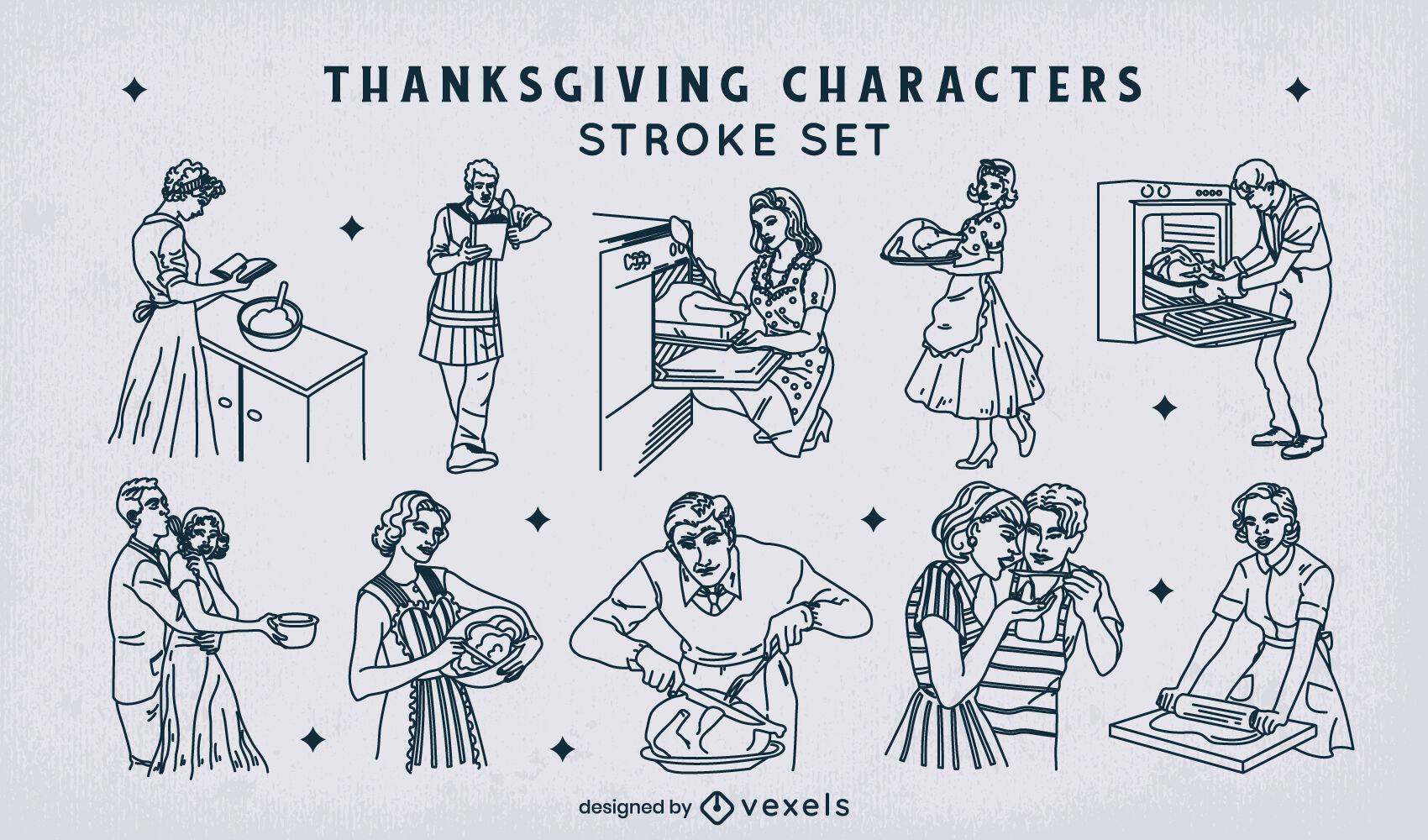 Conjunto de trazos de personajes de acción de gracias de los años 50