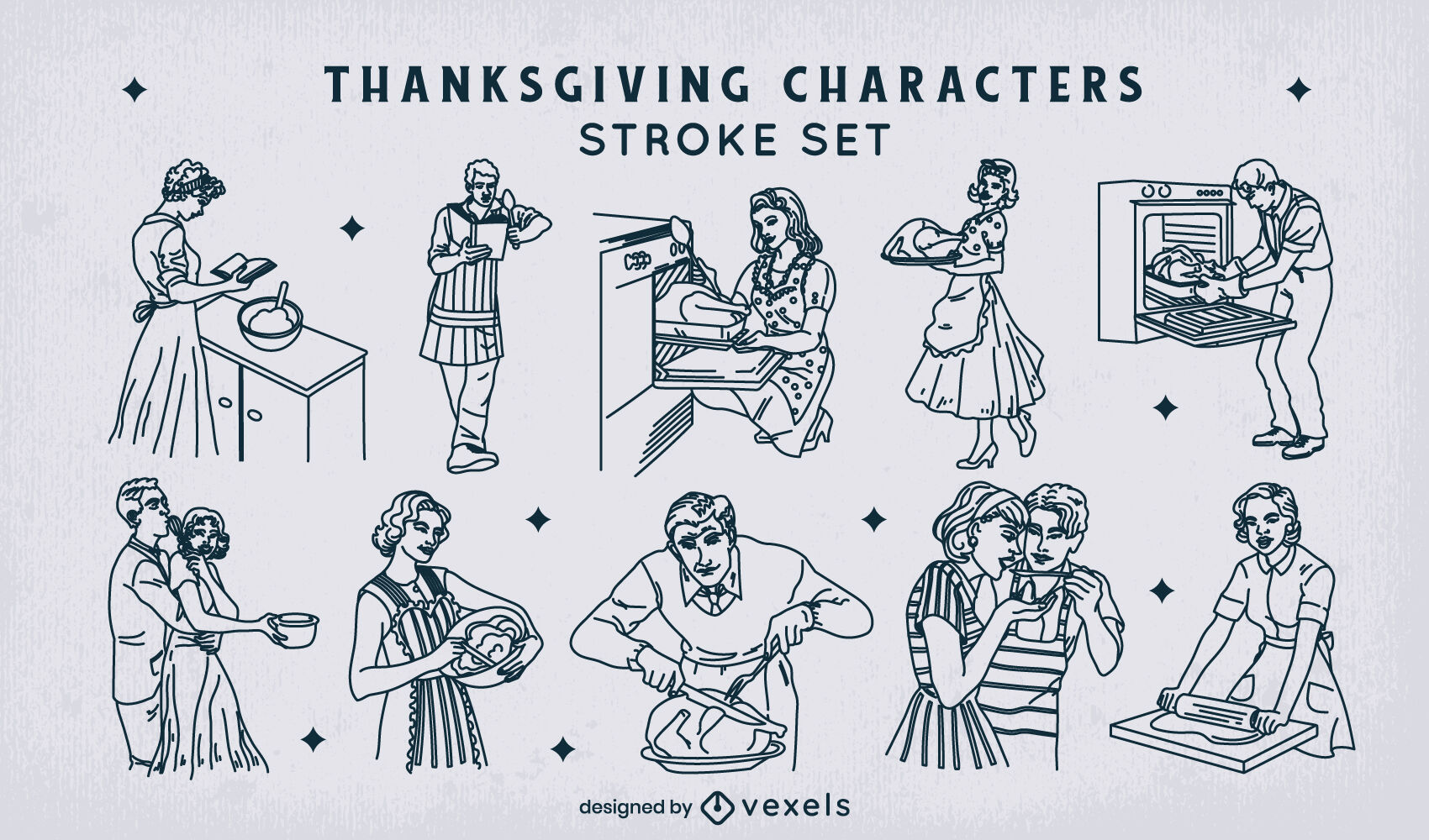 Thanksgiving holiday 50s characters stroke set