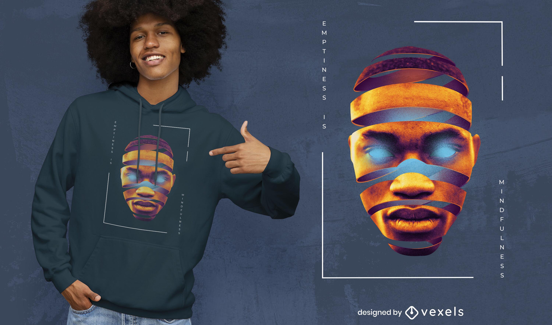 Inneres helles Gesicht PSD-T-Shirt-Design